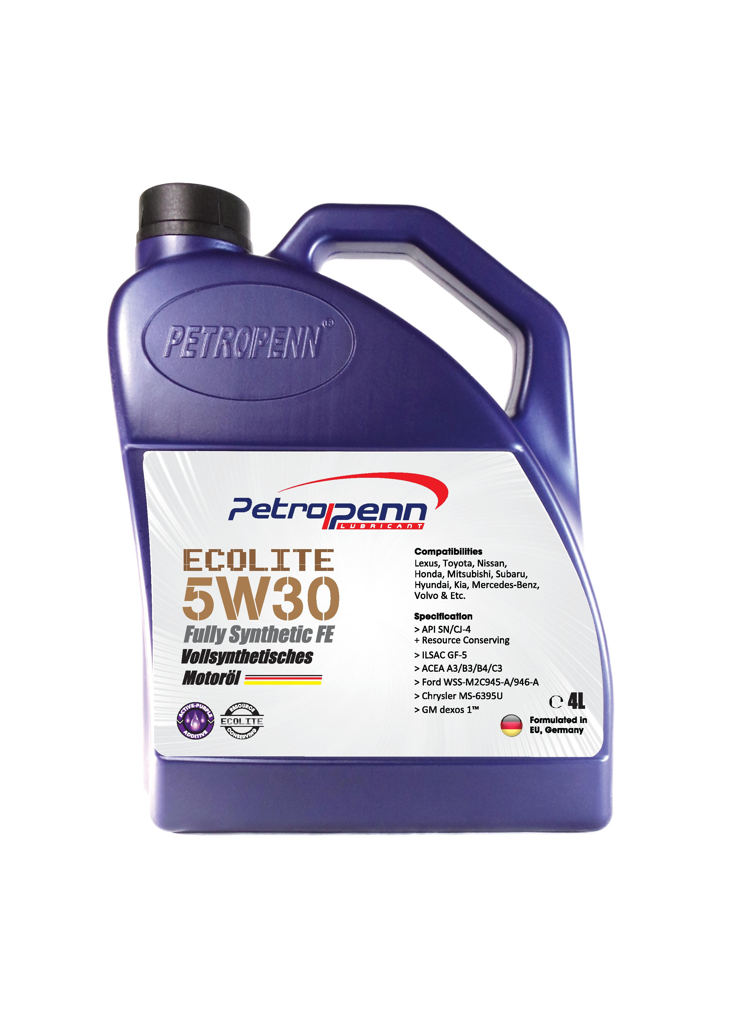 01 Petrolpenn Ecolite 5w30 4litres Fully Synthetic Mercedes Benz Lubricants